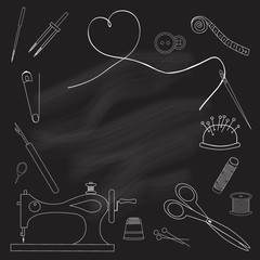 Frame tool for embroidery, drawn in chalk on a blackboard. The sewing machine, scissors, needle, thread, needle bar, pin, thimble and other accessories. White on black. Vector illustration.