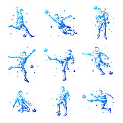 Set of abstract football players. Isolated