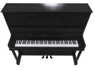 Pretty small piano - top view - on white background
