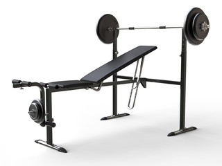 Incline gym bench with barbell weight and additional weight plates - on white background