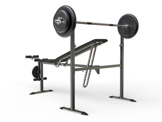 Incline bench with barbell weight - rear perspective view - on white background