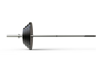 Barbell weight with various weight plates on it - cut shot - isolated on white background