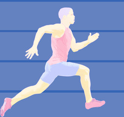 Sprint, race competition. Athlete sprinting at maximum effort during a sporting event.