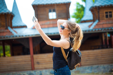Young traveling woman in country