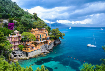 Stunning view on a beautiful bay before storm in Portofino, Italy