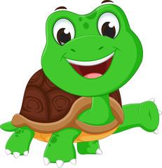 happy turtle cartoon waving