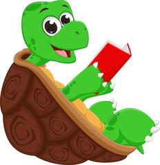 happy turtle cartoon reading book