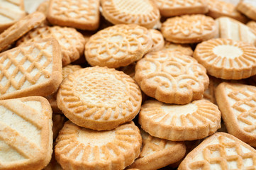 A pile of  biscuits. Food background