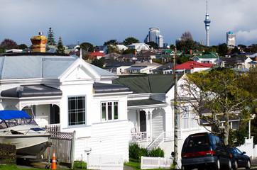 Auckland CBD skyline as seen from Devonport New Zealand