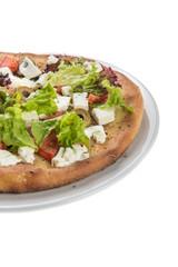 Veggie pizza isolated on white background