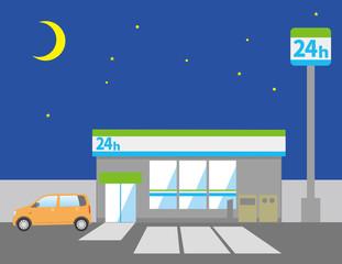 夜のコンビニエンスストアと自動車のイメージイラスト