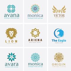 vector illustrationLogo set,Logo Collection,Crests logo,hotel logo,boutique brand logo,Vector Logo Template