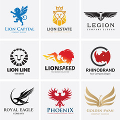 Animal Logo collection,Lion Logo,Rhino logo,Eagle Logo,Vector Logo Template