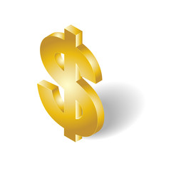 3D isometric dollar money symbol gold color icon
