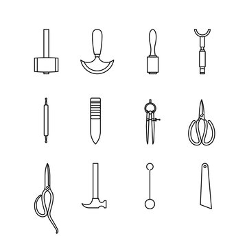 Leather hand craft tool icon set outline style isolated on white background