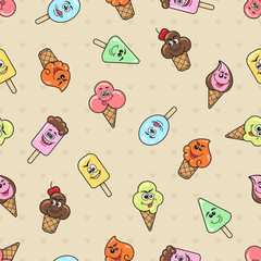 Seamless pattern with cartoon character ice cream on background with hearts. Vector illustration