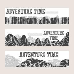 Abstract hand drawn mountain horizontal banners set. Vector illustration