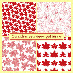 Red maple leaves seamless patterns. Vector illustration.