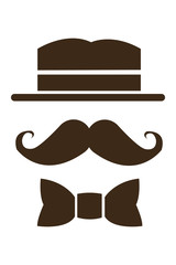 hat mustache and bowtie icon
