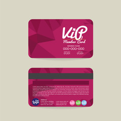 Front And Back Modern Geometric Purple VIP Member Card Template Vector Illustration.