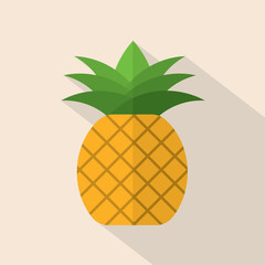 Pineapple Flat Design Vector Illustration.