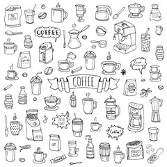 Hand drawn doodle Coffee time icon set Vector illustration isolated drink symbols collection Cartoon various beverage element: mug, cup, espresso, americano, irish, decaf, mocha, coffee making machine