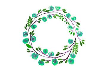 Blue Flower watercolor wreath for beautiful design