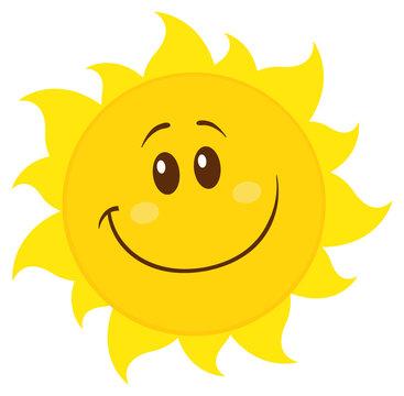 Smiling Yellow Simple Sun Cartoon Mascot Character. Illustration Isolated On White Background