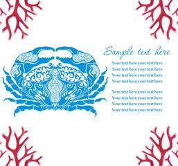 Blue crab, vector cartoon illustration.Cancer