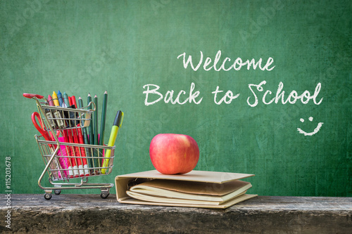 Welcome Back To School Shopping Cart Student Supplies Stationery Notebook Apple