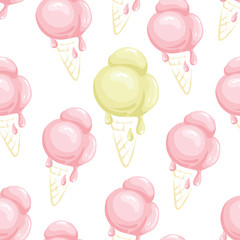 Ice cream background/Funny summer seamless pattern