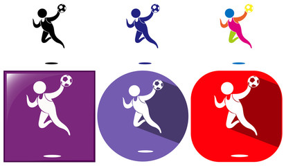 Handball icon in different design