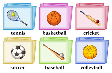 Vocabulary cards for sport equipments
