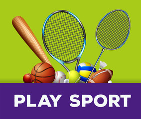 Sports equipment on green background