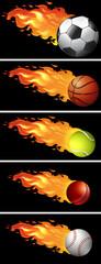 Sport balls on fire