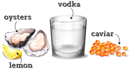 Vodka in glass and other ingredients