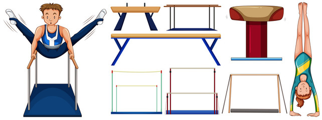 Gymnastics set with athletes and equipments