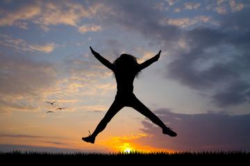happy girl at dawn