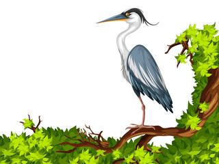 Crane standing on green branch