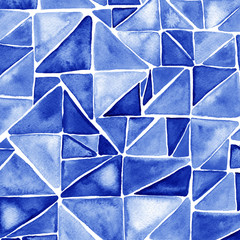 Watercolor blue hipster pattern with triangle mosaic