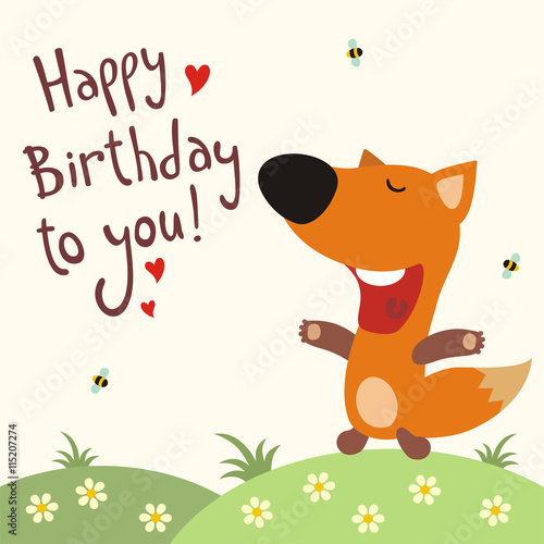 """Happy Birthday To You! Funny Little Fox Sings Song Happy"