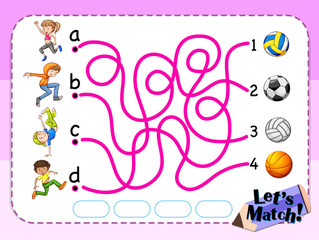 Game template with matching kids and sport