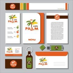 Palma. Vector logo, sign. A set of templates corporate identity.
