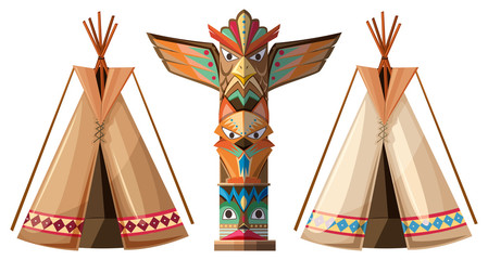 Set of teepees and totem pole