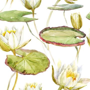 Watercolor lotus pattern