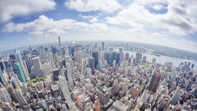 wide angle image of a New York Manhattan