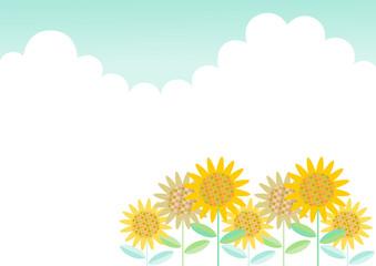 ひまわりと雲 イラスト 背景 素材