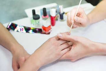 Details of hands during a manicure in  high definition