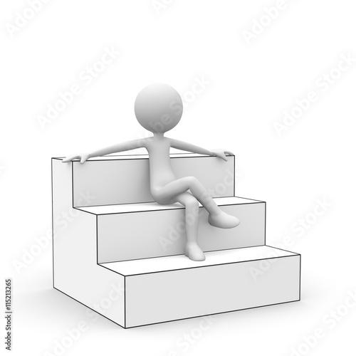 3d cartoon karakter wei es kleines 3d m nnchen sitzt entspannt auf einer treppenstufe und. Black Bedroom Furniture Sets. Home Design Ideas