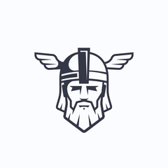 Odin Vector Sport Team or League Logo Template. Viking Face with Typography. Mighty Warrior Head in a Helmet Mascot.